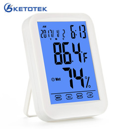 Digital Thermometer Meter Australia - New Weather Station with Touch Screen Button Digital Temperature Humidity Meter LCD Thermometer Hygrometer °C °F selectable