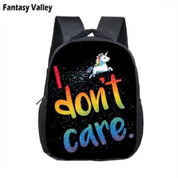 Discount baby care cartoon - I Don't Care Cartoon Unicorn Backpack Boys Girls Kindergarten Bag Children School Bags Backpack Kids Book Bag Baby