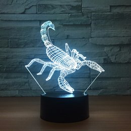 batteries usb mouse Canada - Scorpion 3D Optical Illusion Lamp Night Light DC 5V USB Powered Battery Wholesale Dropshipping Free Shippin