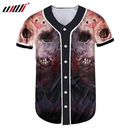 be7eee92 UJWI Men Uniform Shirts 3D Print Horrible Skull With Blood Buon T-shirt Man  Hip Hop Outwear Short Sleeve Baseball Jersey Shirt