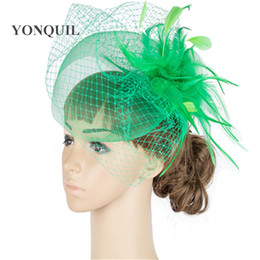crinoline hair UK - Multiple color crinoline fascinator headwear feather bridal veils race hair accessories millinery wedding hat MYQ044