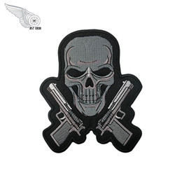 $enCountryForm.capitalKeyWord NZ - Pistol and skull Patch Motorcycle Club MC Tradition Biker Vest Patch Big punk Motorcycle Embroidery patch Applique Free Shipping