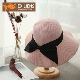 EXILIENS Spring Summer Sun Hats For Women Casual Foldable Girl Bowknot Hat  Floral Chapeau Beach Straw Sunscreen Anti-UV Black 77237242c67a