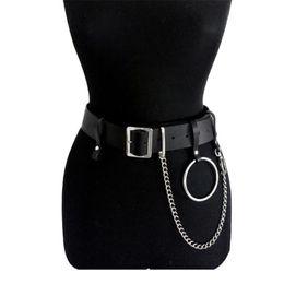 China Women PU Leather Harness Body Belts With Chain Waist Bondage Punk Adjustable Suspender Straps Waist Belt High Quality cheap leather strap suspender belt suppliers