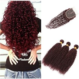 $enCountryForm.capitalKeyWord Australia - Burgundy Virgin Brazilian Human Hair Weaving 3Pcs kinky Curly with Closure Wine Red Hair Weave Kinky Curl Hair Bundle Deep Wave With Closure