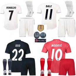 18 19 Real madrid men kit soccer jersey third blue adult kit with sock  RONALDO ASENSIO BALE RAMOS BENZEMA 2018 2019 new football shirts set 6c67efba9