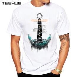 Discount popular t shirt designs - TEEHUB NEW Summer Fashion Creative Lighthouse Printed T-Shirt Short Sleeve Popular Design Tops Novelty T shirt