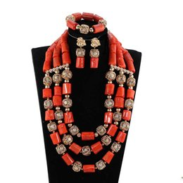 $enCountryForm.capitalKeyWord NZ - Quality Big Real Coarl Beads Costume Necklace Set Dubai Gold Statement African Wedding Jewelry Set Coral Beads Bride Gift CNR391