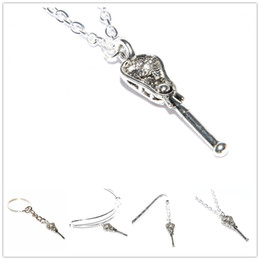 Silver Stick jewelry online shopping - 12pcs Lacrosse Necklace Jewelry Silver Crosse Pendant Lacrosse Stick Necklace Team Gift