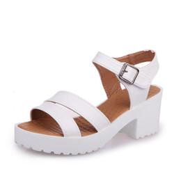 9ba78fa2aea White Leather Chunky Gladiator Sandals UK - 2018 new fashion European and  American sandals
