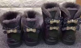 Discount slip female shoes - 2018 Fashion Classic Australia WGG single double diamond Snow boots female winter leather bow rhinestone crown warm thic