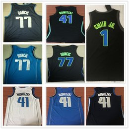 Stitched Latest Style 41 Dirk Nowitzki Jersey Basketball The City Black  Blue White 1 Dennis Smith Jr. 77 Luka Doncic Jerseys Breathable ca08837b5