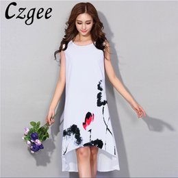 chinese dress 2018 - 2018 New Arrive Chinese Style Women Dress Plus Size M-6XL Loose Casual Summer festa dress Dresses Cotton Printing Vestid