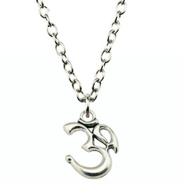Necklaces Pendants Australia - WYSIWYG 5 Pieces Metal Chain Necklaces Pendants Hand Made Necklace Men Om 28x22mm N2-B11005