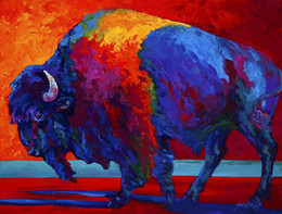 Giclee Print Canvas Paintings Australia - Giclee Abstract Bison Canvas Print color study oil painting arts and canvas wall decoration art Oil Painting on Canvas longhorn steer MRR018