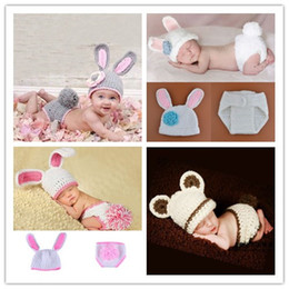 Baby Crochet Rabbit NZ - Crochet Newborn Baby Girls Photo Props Outfits Cute Rabbit Knitted Infant Animal Photography Costumes Newborn Photography Accessories