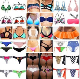 mixed swimwear Australia - Bulk Swimwear For Women Mix Colors Bikini High Waist Swimsuit Sexy Women Bathing Suit Padded Boho Swimsuit Monokini 100pcs