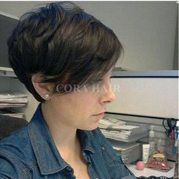 Discount bob cut natural african hair - 2017 Fashion African Hair Cut Style Short Black Wigs Pixie Cut Wigs For Black Women Short Virgin Full Lace Front Bob Wig