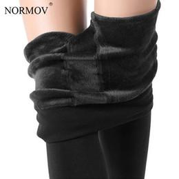 Plus Size Brown Leggings NZ - NORMOV Winter Warm Leggings Women Plus Size Thick Velvet High Waist Pants Female Casual Solid Cheap Ladies Clothing 8 Color
