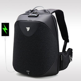 travel laptop charger 2018 - Backpack Men Fashion 15.6 Laptop Bag School Password Anti Theft Lock Function Waterproof Casual Business Travel Male USB