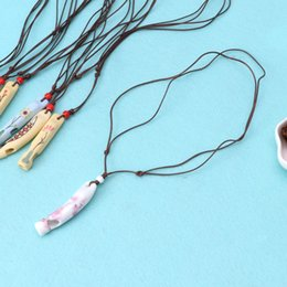 Discount porcelain necklaces - Ceramic Whistle Pendant Necklace Happiness Porcelain Jewelry for Children Gifts