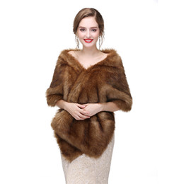 Wholesale CMS14 Brown Faux fur Vintage style wrap faux fur cape shrug bridal shrug Bridal Wrap Women Shawl For Special Occasion