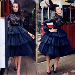Plus size PurPle tutu online shopping - 2019 Little Black Lace Arabic Short Prom Dresses High Neck Long Sleeves Ball Gown Tulle Tutu Knee Length Evening Cocktail Gowns BC0028