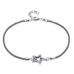 $enCountryForm.capitalKeyWord UK - Vintage Star Shape Sterling Silver Chain Bracelet Trendy Ladies Brace Lace Romantic Zircon Inlaid Bracelet