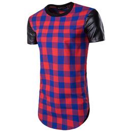 T-shirt manica corta a maniche corte con zip bicolore in pelle scamosciata con  maniche lunghe scozzesi Hip-Hop High Street da uomo 70d50767907