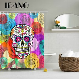 $enCountryForm.capitalKeyWord Canada - Skulls Head Pattern Shower Curtain Waterproof Polyester Fabric Curtain For The Bathroom With 12PCS Hook Wholesale