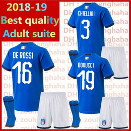 bc10b0fe8 Italy Football uniform Adult suite Buffon Soccer Jerseys 2018 world cup Home  PIRLO ZAZA De Rossi Bonucci Verratti football shirt Adult kits