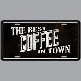 Paint Art 3d NZ - The Best Coffee in Town Super Hot 3D Emboss Retro License Plates Vintage Tin Sign Art Wall Plaque decor Home Metal Painting Bar Pub