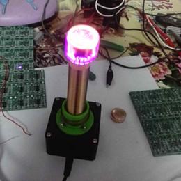 Venta al por mayor de Freeshipping Juguetes electrónicos dc 12V bobina tesla Experimento de enseñanza Transferencia de energía inalámbrica Transmisión con indicador de tubo Glow Luz