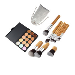 neutral concealer face 2019 - Mybasy 11 Pcs Bamboo Handle Makeup Brush+15 Color Concealer Neutral Palette Contour Cream Kit Face Makeup Eyeshadow Cosm