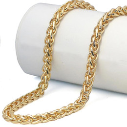 gold braided chain necklace 2019 - Braided Gold Wheat Link Franco Chain Necklaces Gold Man Stainless Steel Spiga Chain Necklace Hip Hop Polished Fashion Je