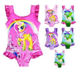 Swimwear Infant Australia - 6 Designs INS Unicorn Baby Kids Swimwear one-Piece Suit Bowknot Swimsuit Infant Girls Summer Cartoon Swim Bathing Suit Beachwear