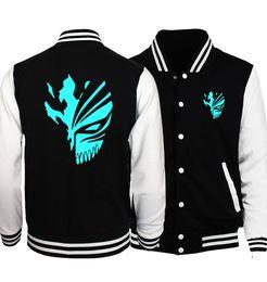 Anime deAth note online shopping - BLEACH Kurosaki Ichigo Jacket Men Night Lights Jackets Mens Death Note Baseball Uniform Print Coat Anime Hip Hop Streetwear