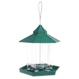 Artificial Birds For Decoration UK - New European Style Wild Bird Feeder Outdoor Bird Feeders Food Container Hanging Gazebo Bird Feeder Perfect For Garden Decoration