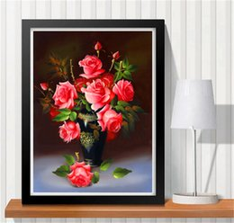 paintings bottles NZ - wholesale 5d diamond painting Rose bottle Handmade Embroidery Crystal Round Diamond Mosaic Cross Stitch Pictures Home Decoration
