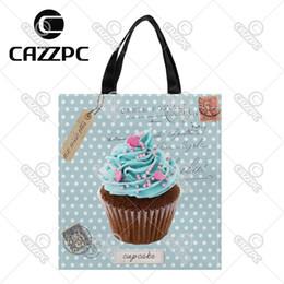 $enCountryForm.capitalKeyWord NZ - Blue-Green Vintage Dot Postcard Cute Cupcake Cate Food Pattern Custom individual waterproof Nylon Fabric shopping bag gift bag
