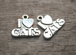 TibeTan silver caT pendanT online shopping - 20pcs of Antique Tibetan silver I Love Cats charms pendants x21mm