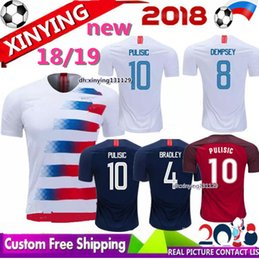 69c0c2563 Free shipping USA size jerseys 2018 2019 new PULISIC DEMPSEY Soccer Jersey  18 19 America BRADLEY ALTIDORE WOOD Football Shirt United States