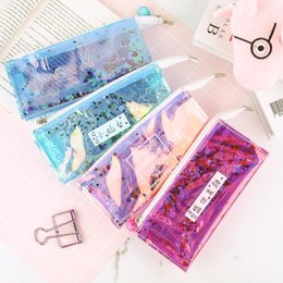 Korean School Stationery Australia - 1 Pcs Korean Creative School Pencil Case Cute Sequins Quicksand Stationery Box Kawaii Pencil Pen Storage Office School Supplies