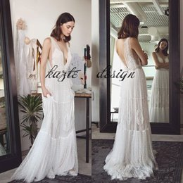 Dotted Tulle Lihi Hod Bohemian Holiday Wedding Dresses With Beaded Belt  2018 V Neck Flowing Fairy Country Beach Wedding Bridal Gown