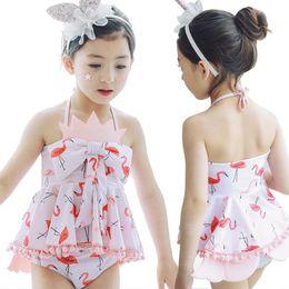 Girls swimminG shorts tops online shopping - 2018 Baby Girls Swimming Sets Cartoon Flamingo Swimwear Suits Girl Sun Bathing Swimwear Sets Tops Underpant Shorts With Hat