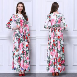 $enCountryForm.capitalKeyWord Australia - Printing Floral Chiffon Evening Dresses 2019 Long Sleeves Long Evening Gowns Floor Length Prom Gown In Stock