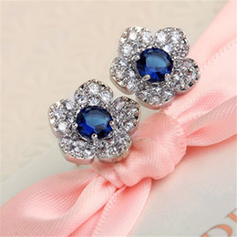 Discount blue colour earrings - Fashion Sliver Colour Pearl Zirconia Stud Earrings For Women Blue crystal flower For Girls gift
