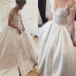 Discount cinderella wedding dress straps - Elegant Ball Gown Wedding Dresses Cinderella Plus Size Off The Shoulder Lace Country Church Wedding Dress Vintage Fantas
