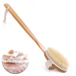 Wholesale Wooden Bath Nature Bristle body Brush Long Handle Reach Back Body Shower Brush SPA Scrubber Bathroom