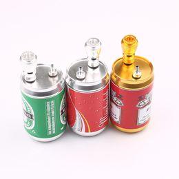 Beer Pipe Australia - Newest Design Metal Beer Cans Hookah Pipe Portable Smoking Pipes Smoke Narguile Grinder shisha Smoking